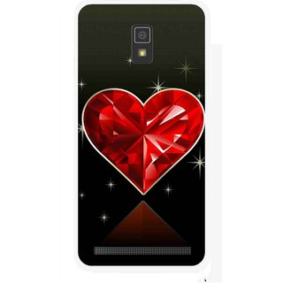 Snooky Printed Diamond Heart Mobile Back Cover For Lenovo A6600 - Red