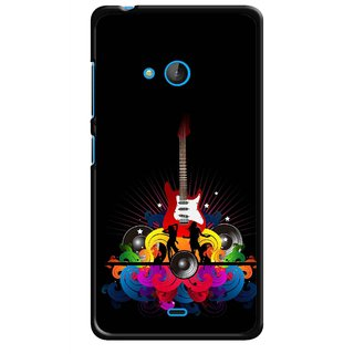 Snooky Printed Rainbow Music Mobile Back Cover For Nokia Lumia 540 - Black