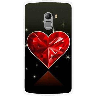 Snooky Printed Diamond Heart Mobile Back Cover For Lenovo K4 Note - Red