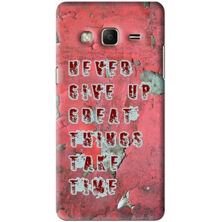 Snooky Printed Never Give Up Mobile Back Cover For Samsung Galaxy j3 - Red
