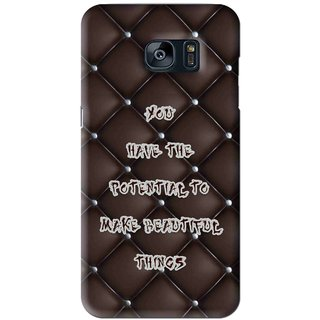 Snooky Printed Beautiful Things Mobile Back Cover For Samsung Galaxy S7 - Brown