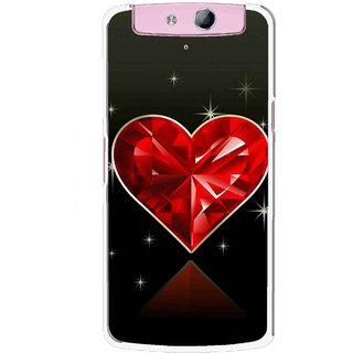 Snooky Printed Diamond Heart Mobile Back Cover For Oppo N1 Mini - Red
