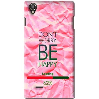 Snooky Printed Be Happy Mobile Back Cover For Lava Iris 800 - Pink