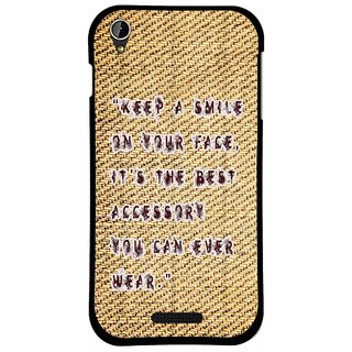 Snooky Printed Keep A Smile Mobile Back Cover For Lava X1 Mini - Brown