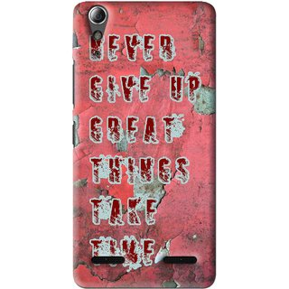 Snooky Printed Never Give Up Mobile Back Cover For Lenovo A6000 Plus - Red