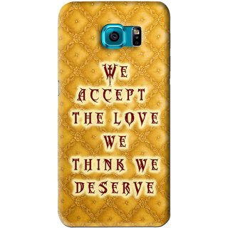 Snooky Printed Accept Love Mobile Back Cover For Samsung Galaxy S6 - Yellow