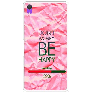 Snooky Printed Be Happy Mobile Back Cover For Sony Xperia Z2 - Pink