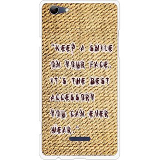 Snooky Printed Keep A Smile Mobile Back Cover For Micromax Canvas Selfie 3 Q348 - Brown