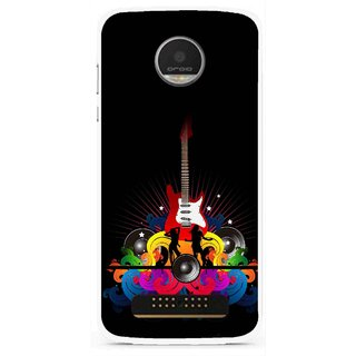 Snooky Printed Rainbow Music Mobile Back Cover For Moto Z Play - Black