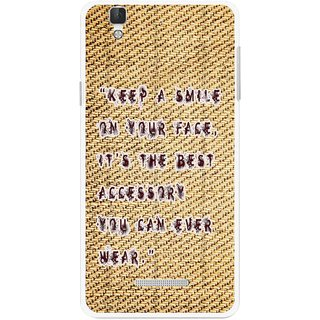 Snooky Printed Keep A Smile Mobile Back Cover For Micromax Yu Yureka Plus - Brown