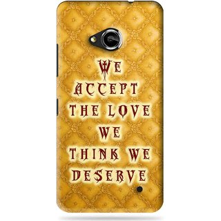 Snooky Printed Accept Love Mobile Back Cover For Microsoft Lumia 550 - Yellow