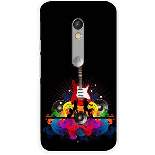 Snooky Printed Rainbow Music Mobile Back Cover For Motorola Moto X Play - Black