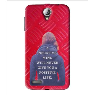Snooky Printed Be Positive Mobile Back Cover For Lenovo A850 - Red