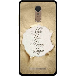 Snooky Printed Dreams Happen Mobile Back Cover For Gionee S6s - Brown