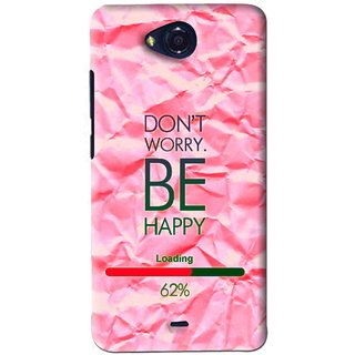 Snooky Printed Be Happy Mobile Back Cover For Micromax Canvas Play - Pink
