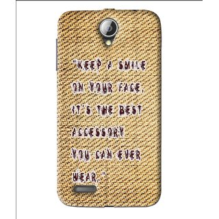 Snooky Printed Keep A Smile Mobile Back Cover For Lenovo A850 - Brown