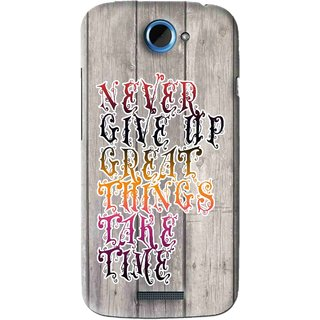 Snooky Printed Never Give Up Mobile Back Cover For HTC One S - Multi