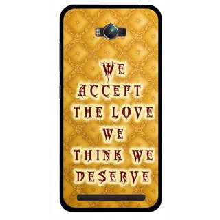 Snooky Printed Accept Love Mobile Back Cover For Asus Zenfone Max - Yellow