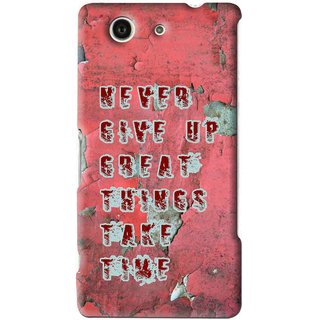 Snooky Printed Never Give Up Mobile Back Cover For Sony Z3 Mini - Red