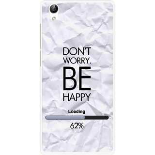 Snooky Printed Be Happy Mobile Back Cover For Vivo Y51L - Grey