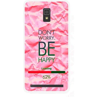 Snooky Printed Be Happy Mobile Back Cover For Lenovo A6600 - Pink