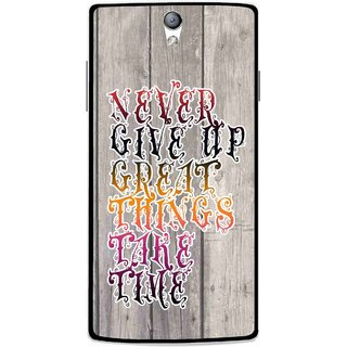 Snooky Printed Never Give Up Mobile Back Cover For Oppo Find 5 Mini - Multi