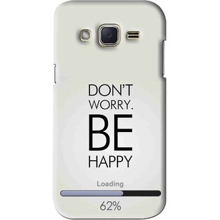 Snooky Printed Be Happy Mobile Back Cover For Samsung Galaxy j2 - Grey