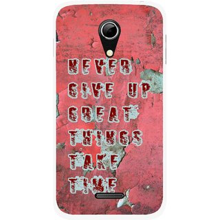 Snooky Printed Never Give Up Mobile Back Cover For Micromax A114 - Red