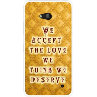 Snooky Printed Accept Love Mobile Back Cover For Nokia Lumia 640 - Yellow