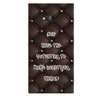 Snooky Printed Beautiful Things Mobile Back Cover For Nokia Lumia 730 - Brown