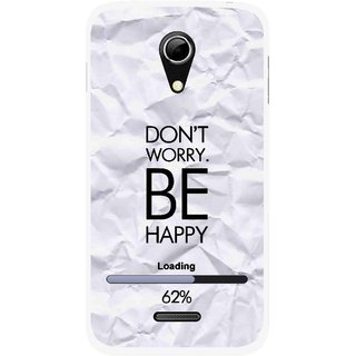 Snooky Printed Be Happy Mobile Back Cover For Micromax A114 - Grey