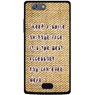 Snooky Printed Keep A Smile Mobile Back Cover For Oppo Neo 5 - Brown
