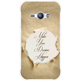 Snooky Printed Dreams Happen Mobile Back Cover For Samsung Galaxy Ace J1 - Brown