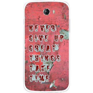 Snooky Printed Never Give Up Mobile Back Cover For Micromax Bolt A068 - Red