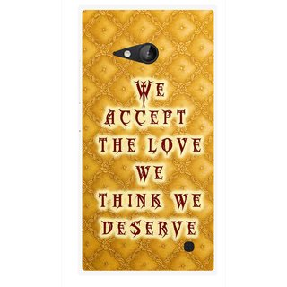 Snooky Printed Accept Love Mobile Back Cover For Nokia Lumia 730 - Yellow