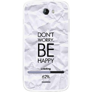 Snooky Printed Be Happy Mobile Back Cover For Micromax Bolt A068 - Grey