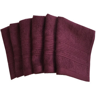 Lushomes Red Plum Super Soft and Fluffy Face Towel (Size 12 x 12, Pack of 6, 450 GSM)