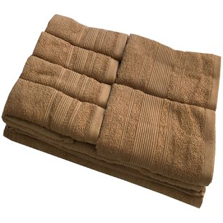 Lushomes Ultra Absorbent Bath 8 pc Indian Tan Towel Set packed with Ribbon and PVC box with handle. (1 x Gents T. + 1 ladies T. + 2 x Hand T. + 4 x Face T.)
