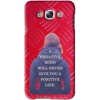 Snooky Printed Be Positive Mobile Back Cover For Samsung Galaxy E5 - Red