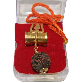Only4you Rudraksha Damru Locket Pendant Shiv Shakti Kavach With Gold Plated Chain