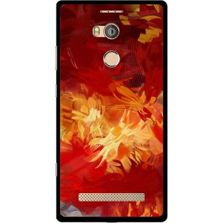 Snooky Printed Flamy Fire Mobile Back Cover For Gionee Elife E8 - Red