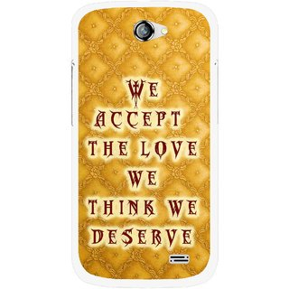 Snooky Printed Accept Love Mobile Back Cover For Gionee Pioneer P2 - Yellow