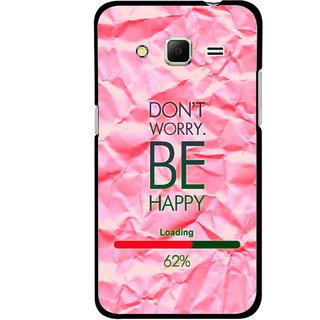Snooky Printed Be Happy Mobile Back Cover For Samsung Galaxy Core Prime - Pink