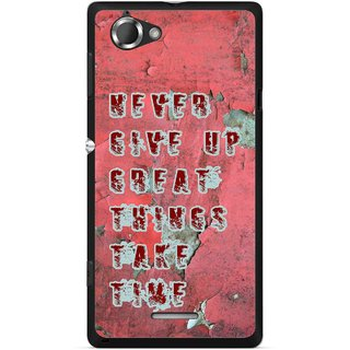 Snooky Printed Never Give Up Mobile Back Cover For Sony Xperia L - Red