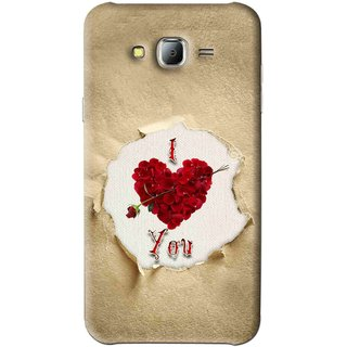 Snooky Printed Love Heart Mobile Back Cover For Samsung Galaxy J7 - Multi