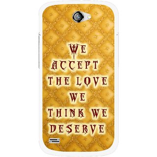 Snooky Printed Accept Love Mobile Back Cover For Gionee Pioneer P3 - Yellow