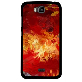 Snooky Printed Flamy Fire Mobile Back Cover For Huawei Honor Bee - Red
