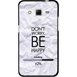 Snooky Printed Be Happy Mobile Back Cover For Samsung Galaxy Core Prime - Grey
