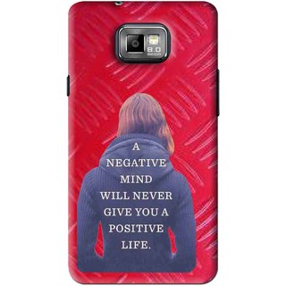 Snooky Printed Be Positive Mobile Back Cover For Samsung Galaxy S2 - Red