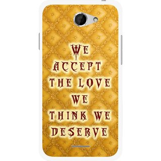 Snooky Printed Accept Love Mobile Back Cover For HTC Desire 516 - Yellow